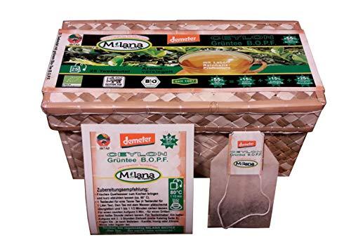 25 Milana CEYLON Demeter BIO-GRÜNTEE Beutel BOPF - Teebeutel, grüner Tee in handgeflochtenen Teekörbchen, 55 Prozent des Verkaufspreises ist SOZIALE HILFSLEISTUNG - Der Tee...der nach Liebe schmeckt.