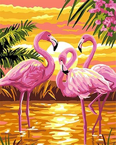 pintar por numeros para adultos y niños Aves del amor al atardecer Kits de regalo de pintura al óleo digital de bricolaje arte de lienzo decoración del hogar -16 * 20 pulgadas sin marco