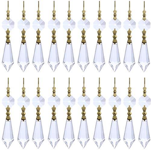 20 ornements de lustre H&D - Forme de stalactites et prismes transparents - Connecteurs en laiton