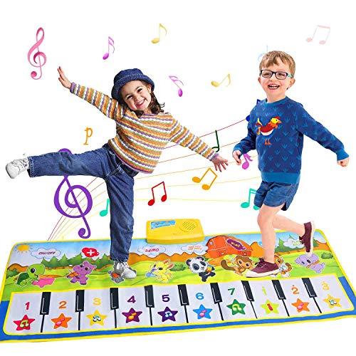 Tanzmatten Klaviermatte Musikmatte mit 8 Instrumenten Spielzeug Musik Matte Piano Mat Geburtstag Geschenk mit Aufnahme Funktion für Jungen Mädchen Kinder 3 4 5 6