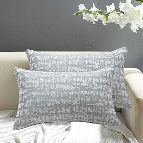 N-B FRECINQ - Juego de 2 fundas de cojín nórdico Luxury estilo protegido, almohada decorativa, casa, salón, dormitorio, sofá, almohada, tamaño 45 x 45 cm, 30 x 45 cm, color gris, 30 x 50 cm