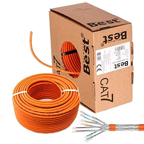 SatShop-Ft CAT7 Duplex Kabel 50m Verlegekabel Netzwerkkabel CAT 7 Twin LAN Installationskabel SFTP PIMF Netzwerk Ethernet Verkabelung Datenkabel Gigabit Kupfer Ethernet AWG23/1 (50m Abrollbox Duplex)