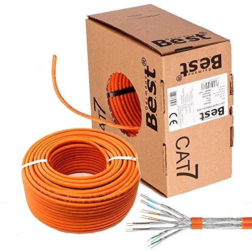 CAT7 Duplex Kabel 100m Verlegekabel Netzwerkkabel CAT 7 Twin LAN Installationskabel SFTP PIMF Netzwerk Ethernet Verkabelung Datenkabel Gigabit Kupfer Ethernet AWG23/1 (100m Abrollbox, Cat 7 Duplex)