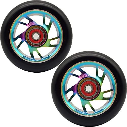 GAOJJ Pro Scooter Wheels 100 mm - Ruedas de Scooter 1 Juego de 2 - Rodamientos de Ruedas Pro Scooter instalados - Aleación de Aluminio 6061-88A PU - Piezas de Scooter,Colorful a
