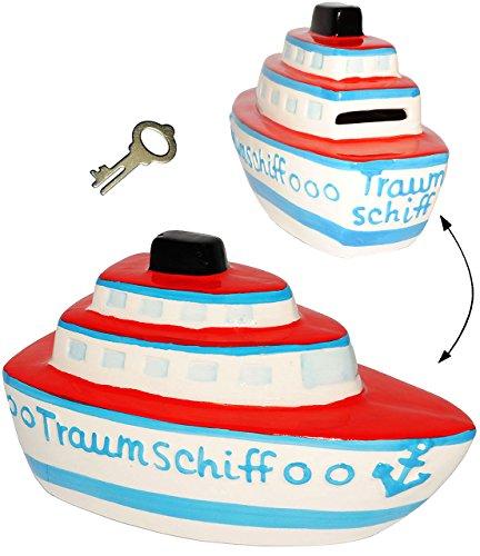 alles-meine.de GmbH große Spardose - 3-D Effekt _  Traumschiff - Schiff  - incl. Schlüssel - stabile Sparbüchse aus Porzellan / Keramik - Sparschwein - für Kinder & Erwachsene ..