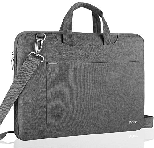 Ferkurn 17-17.3 Inch Laptop Case Shoulder Sleeve Protective Lightweight Bag with Handle Compatible with MacBook 17.3'/ Acer/ASUS/XPS/HP/New Razer Blade Pro 17, Waterproof Cover with Pocket,Gray
