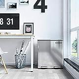 SONGMICS Mülleimer, Mülltrennsystem, mit 2 Inneneimern aus Kunststoff, 2 x 30 L Treteimer, Abfalleimer mit Fußpedal, mit Handgriffen, Silbern LTB60NL - 7