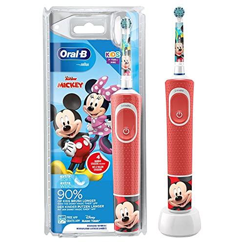 Oral-B Kids Mickey Elektrische Zahnbürste/Electric Toothbrush für Kinder ab 3 Jahren, 2 Putzmodi für Zahnpflege, extra weiche Borsten, 4 Sticker, rot