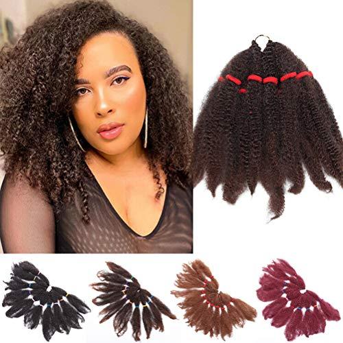 3 Packs 28cm Crochet cheveux Afro Kinky Curly Crochet Braids Extensions de cheveux Synthétique Jerry Curls Marley Braids Crochet cheveux pour les Femmes Mélange noir vin rouge