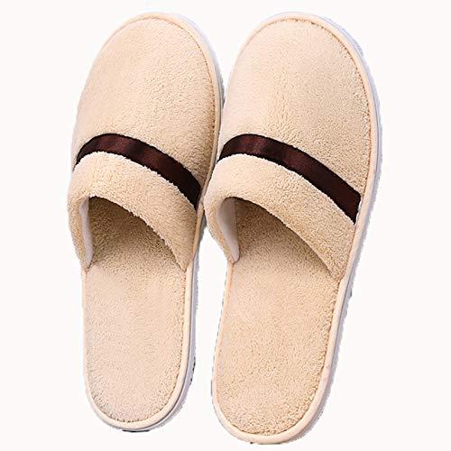 AELEGASN 10 Pares De Zapatillas Desechables SPA Home Zapatillas Respirables Lavable Reutilizable Zapatos Unisex para Viajes De Hotel Baño, Invitados, Hogar, Bodas,Caqui