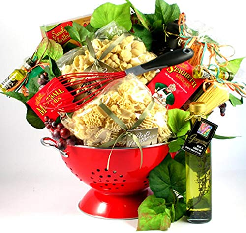A Taste Of Italy - Italian Gift Basket with Pastas, Sauce and Meatball Mixes, Italian Pasta Salad Kit, Delux Colander and More, 10 Pounds (Large)