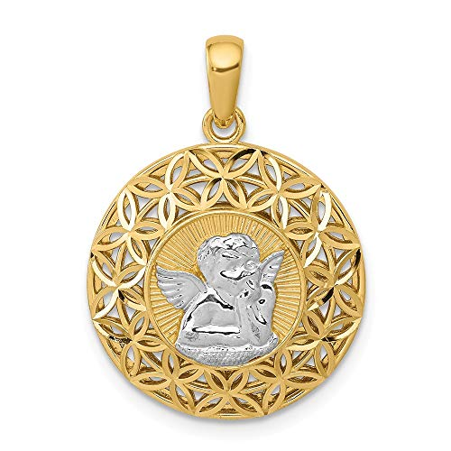 Best Quality Free Gift Box 14k /& Rhodium Girl Pendant