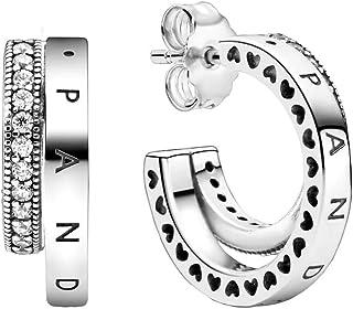 Pandora - Pendientes de doble pavé en plata