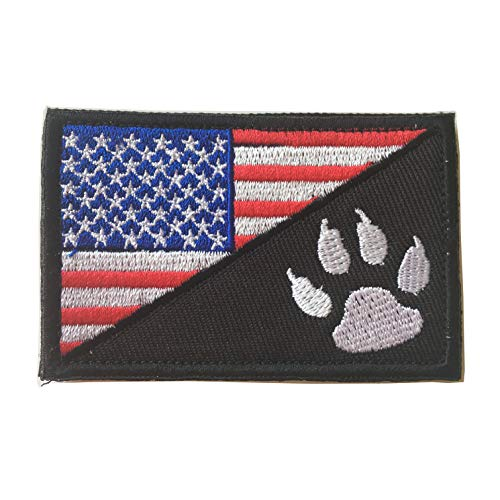 USA American Flag w/Dog Tracker Paw Embroidered Applique Morale Hook & Loop Patch (Red)