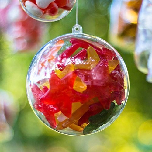 Yolli x5 Baubles Christmas Decorations 120mm Fillable Empty Clear Plastic