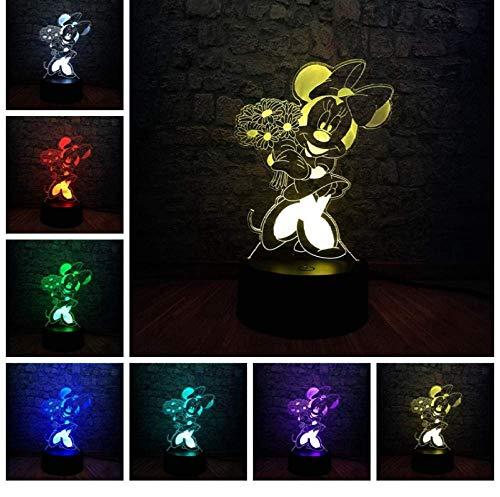 Luz de noche creativa 3D Minnie Flower Luz Led Multicolor Gradiente Control remoto Atenuación táctil Luz de noche USB Touch Baby Sleep Kid Regalo Juguete