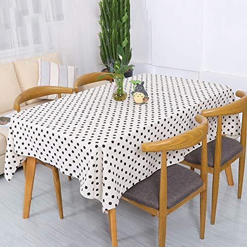 XDLUK Tischdecke Baumwolle Leinen Rechteckiges Modern Simple Tischtuch Fleckenschutz Abwaschbare Tischwäsche Schwarz Gepunktet Muster, Weiß,140x200cm