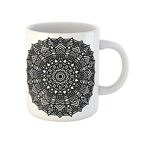 Awowee Coffee Mug Abstract Geometric Mandala Coloring Book Page Black Chakras Circle 11 Oz Ceramic Tea Cup Mugs Best Gift Or Souvenir For Family Friends Coworkers
