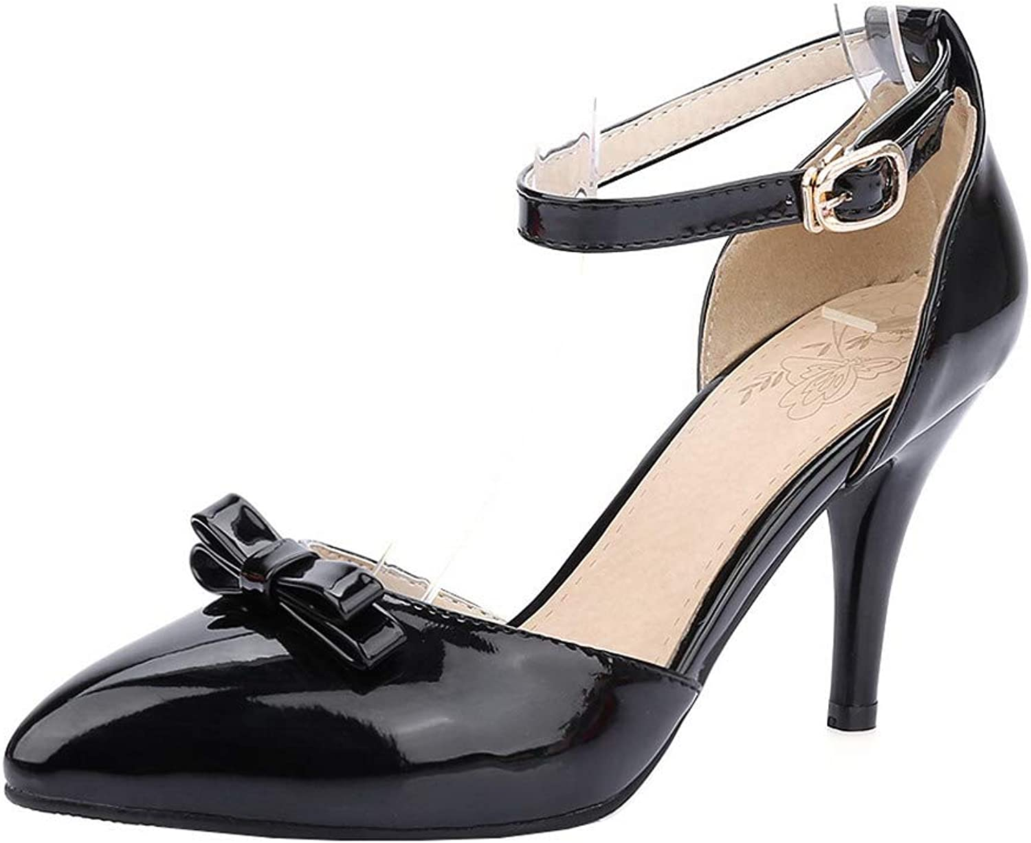 AllhqFashion Women's Solid Patent Leather Buckle Pointed Closed Toe Pumps-shoes,FBUDD012302