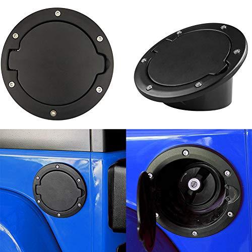 YSHtanj Tankdeckel für Autotür, Außenteile, Tankabdeckung, Aluminiumlegierung, Kraftstoff, Gas-Tank, Deckel für 2007–2018, Jeep Wrangler JK, Schwarz