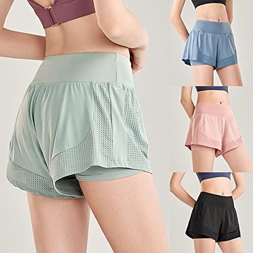 Pantalones Cortos para Mujer 2 en 1 Pantalones Cortos de Fitness fluidos Pantalones Cortos de Doble Capa de Yoga de Secado rápido (L,Verde)