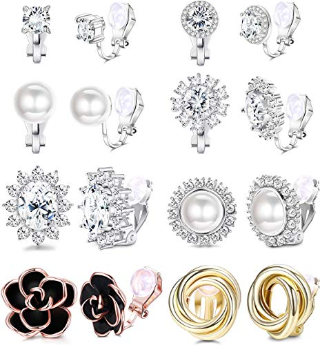 Adramata 8 Pairs Clip Earrings for Women Fashion Rose Flower CZ Freshwater Pearl Twist Knot Hypoallergenic Non Pierced Clip On Earrings Wedding Sets