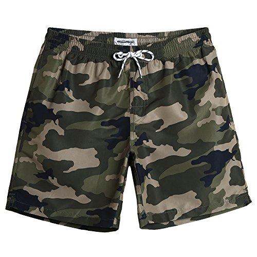 MaaMgic Shorts de Baño para Hombre Shorts de Playa Traje de Bañode Secado Rápido para Vacaciones Diseño a Rayas, Verde Camuflaje L