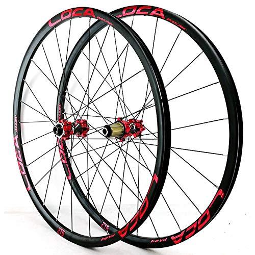 LICHUXIN Oksmsa 26/27,5/29 Pulgadas Bicicleta Juego De Ruedas Híbrido Bicicleta Ruedas MTB Freno De Disco Delantero Y Trasero Rueda Eje Pasante 8/9/10/11/12 Velocidad 24H (Color : Red, Size : 26in)