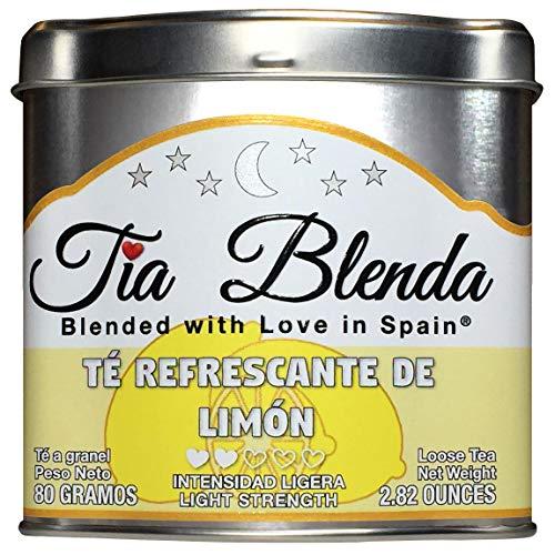 TIA BLENDA - TÉ REFRESCANTE DE LIMÓN (80 g) – Delicado TÉ VERDE Sencha Japones Premium con LIMÓN. Te en hojas. 45 - 55 tazas. Presentacion premium en lata. Loose Tea Caddy.