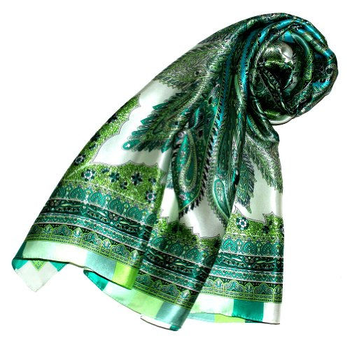 Lorenzo Cana Luxus Damen Seidentuch aufwändig bedrucktes Tuch 100% Seide 100 cm x 100 cm Damentuch gruen weiss 89090