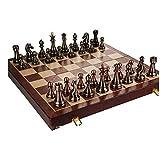 UNU_YAN Conjunto de ajedrez de Madera Maciza de Simplicidad Moderna, Piezas de Bronce de Metal de Estilo Retro, Tablero de ajedrez Plegable para Adultos y Regalos Infantiles, 52 * 52 cm