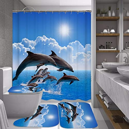 Ocean Design Dolphin 4 in 1 Waterproof Fabric Bathroom 3D Shower Curtain Set with Non Slip Toilet Cover Rugs Mat Home Decoration 70.8x70.8Inch