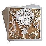 JinSu 10 Stück Hochzeit Einladungskarten, Laser Geschnittene Hochzeitsparty Einladungskarten mit Bedruckbaren Papier und Umschläge für Hochzeit Hochzeitstag (Nur für Hochzeiten)