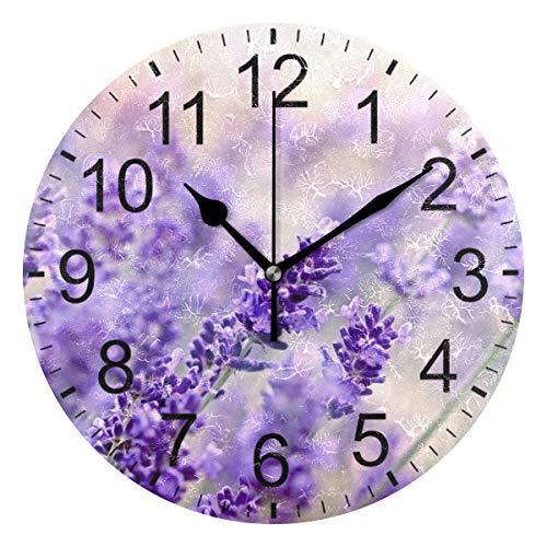 SENNSEE Wanduhr, Lavendelblume, lila Wanduhr, dekorativ, Wohnzimmer, Schlafzimmer, Küche, batteriebetrieben, für Heimdekoration, Kunst