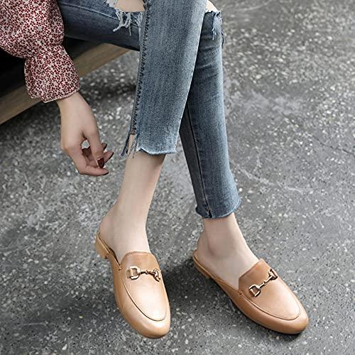 Chanclas clásicas,Baotou Lleva Sandalias de Moda, Zapatos de Semi-Deslizamiento Informal y Arena.-Marrón Claro_39,Sandalias de Dedo del pie