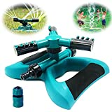 Buyplus Lawn Sprinkler - Automatic 360 Rotating Adjustable Garden Hose Watering Sprinkler Head for Kids, with 3600 SQ FT Coverage Yard Irrigation System/Leak Free Durable 3 Arm Sprayers (1 Pack)