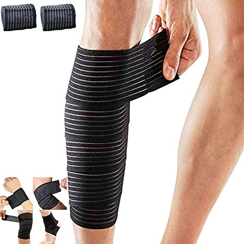 2 Pack Sports Knee Wraps, Extra Long Elastic Knee Braces Compression Bandage Brace Support for Cross Training, Gym Workout, Weightlifting,Fitness & Powerlifting Knee Braces for Knee Pain Plus Size