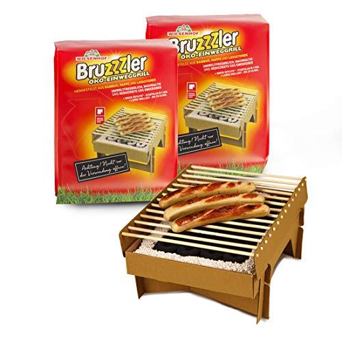 Bruzzzler Barbacoa desechable ecológica, completamente fabricada con materiales naturales, casi totalmente quemable, menos emisiones de CO2, se puede usar en 5 minutos, más de 1 hora, 3 unidades