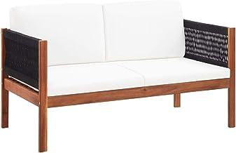 vidaXL Solid Acacia Wood Garden Sofa 2-Seater Outdoor Patio Backyard Lounge Seating Furniture