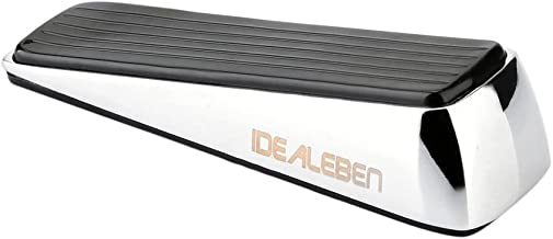 Idealeben  5.5 Ounces Stainless Steel and Rubber Heavy Doorstop, Black / Silver