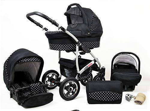 Lux4Kids Kinderwagen 3 in 1 Kombi Komplettset mit Autositz Isofix 2in1 Babywanne Babyschale Buggy Buggy Baby Larmax Schwarz & Punkte 2in1 ohne Babyschale