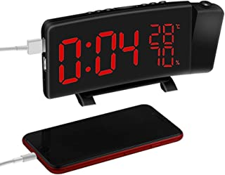 Radio Alarm Clock with FM Radio Dual Alarms, 180° Rotatable Projector LED Digital Alarm Clock with USB Charging Port, 7-inch Large Screen with Time/Humidity/Temperature Display