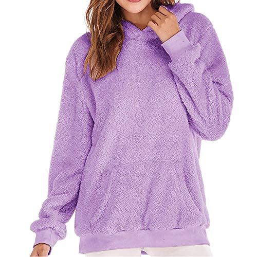YWLINK Damen Kordelzug Winter Weich Warme Sweatshirt Kapuzenpulli Pullover Falsch Wolle Mantel Frauen Outwear (EU:46/CN:2XL,Lila)