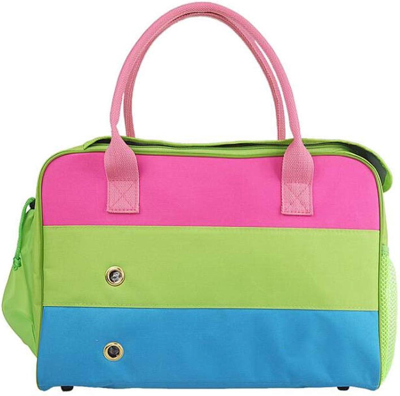DUHUI Pet travel bag dog backpack out carrying bag pet bag portable pet bag,Pink,green,bluee (Size   40  17  28cm)