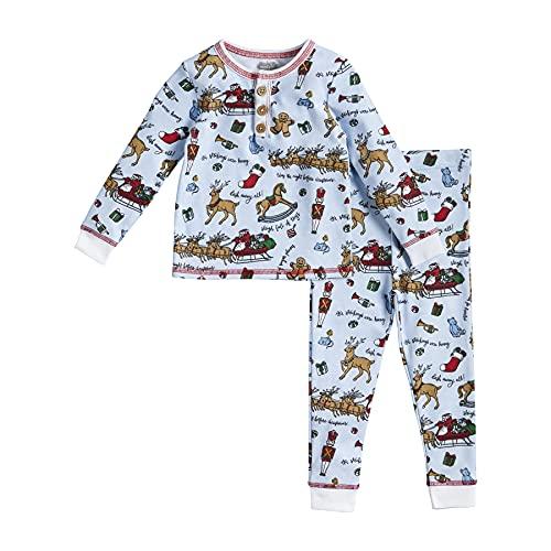 Mud Pie Baby Night Before Christmas Boy Pajamas, Blue, 4T