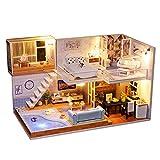 Blanket Kit de Miniatura de casa de muñecas de Madera con Muebles, a Prueba de Polvo y Movimiento Musical,Kits de Modelos de Accesorios de Muebles de casa de muñecas de Bricolaje