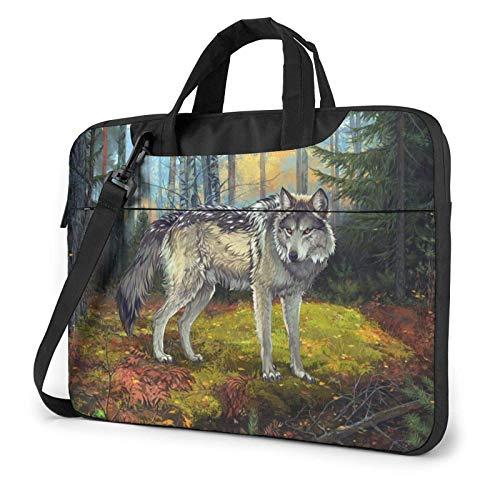 Bolsa para portátil Forest Grey Wolf, Bandolera para Ordenador portátil, Bandolera de 13 Pulgadas, Resistente al Agua, Funda para Ordenador portátil, maletín de Transporte