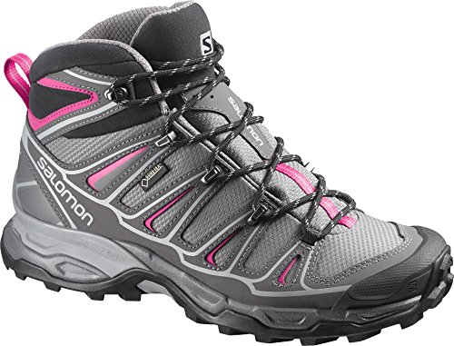 Salomon X Ultra Mid 2 GTX - Zapatos Mujer, Gris (Detroit /     Autobahn /     Hot Pink), 38 EU