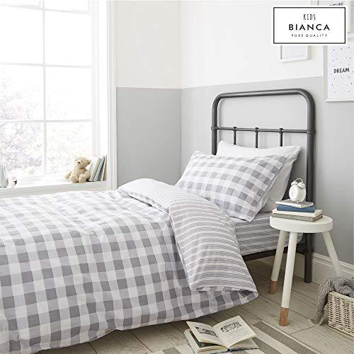 Bianca - Juego de Funda nórdica, para Cama Individual, diseño de Cuadros y Rayas, Color Rosa, algodón, Gris, sábana Bajera Individual