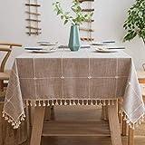 Lifetooler Mantelería de lino de Algodón Lavable Diseño de Borlas Mantelería Rectangular Antipolvo para la Decoración del Buffet de la Cocina (Celosía Marrón, Rectangular/oval,140x180cm,4-6 asientos)